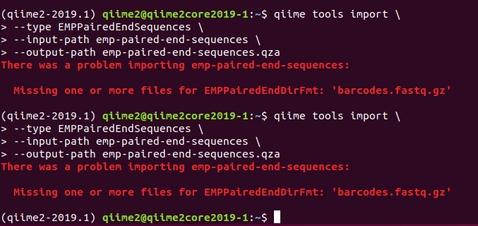 Unable to import paired end sequence data in the moving