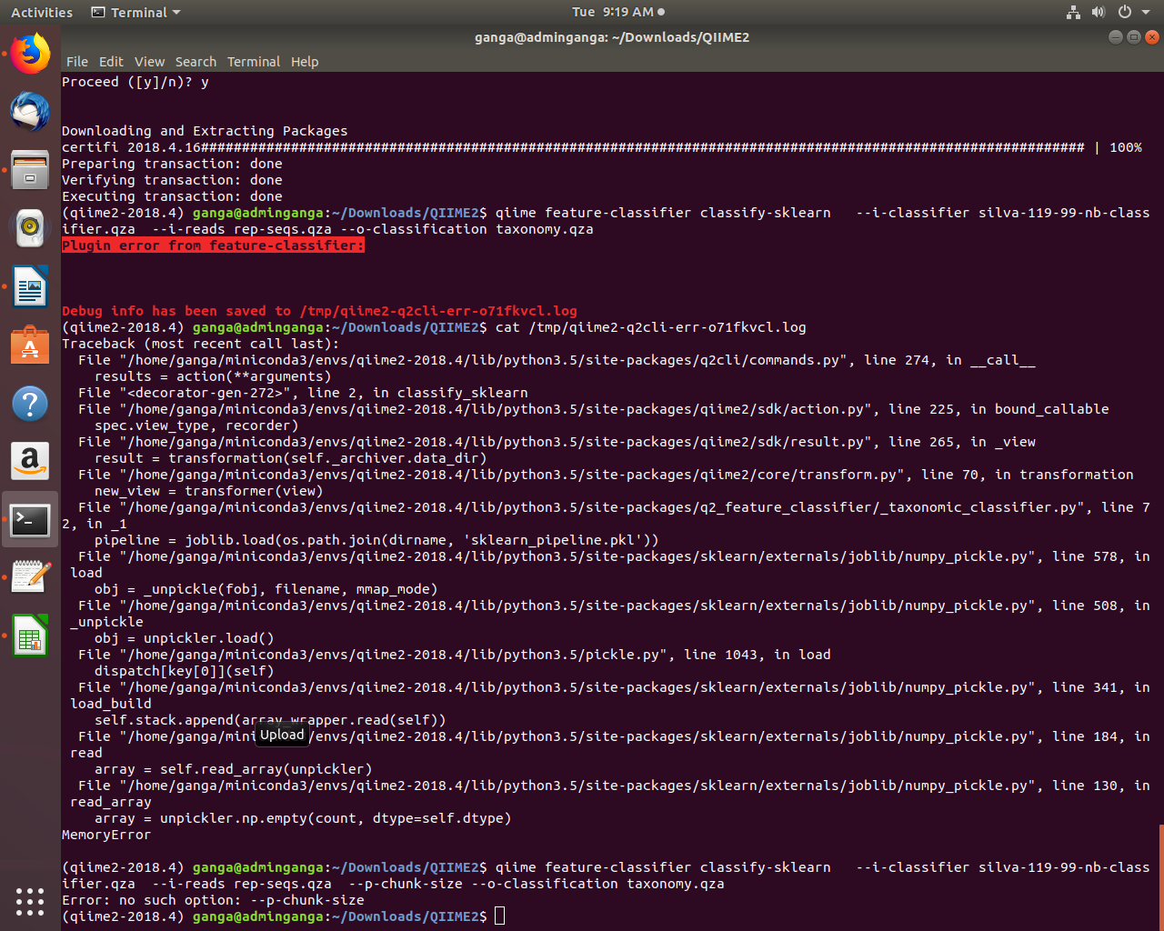 Plugin error from feature-classifier: Memory Error - User